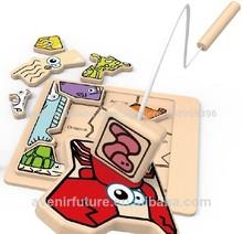 2014 nuevo diseño de madera de la diversión magnético juego de la pesca juguetes para los niños