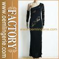 vestido de noche de manga larga al por mayor de encaje negro