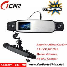 3 lente led de visión nocturna hdmi av en el coche espejo dvr dvr
