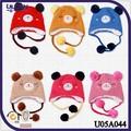 2013 gorro crochet animales oso con cuatro bolas gorro con orejeras tejido