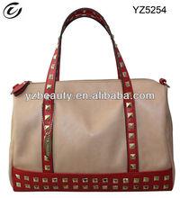 Red studded vanity fashion handbags satchel bag