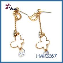 fashion jewelry 2015 crystal gold plated Alphabet D enamel earring butterfly earrings