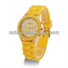 Good choice good quality geneva ladies silicone rubber band watch top brand rubber watches alibaba express hot without diamond