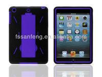 3 parts pc silicon combo gel case for ipad mini cover case/spot stand case for ipad mini back cover/3 in 1 case for ipad mini