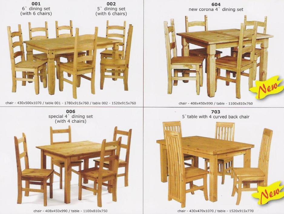 Muebles en madera de pinoSets para Sala ComedorIdentificación del