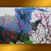 Wall art bird hand painted canvas picture flower for hotel