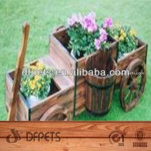 Outdoor Wooden Flower Cart For Garden Decor DFG2004