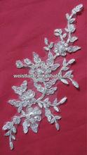 plata metálica con cable de bordado apliques de encaje de cuentas de perlas