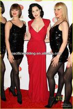 cd-048 Crazy hot!! 2013 New Arrival Custom Made Sexy Red Deep V-neck Open Back Chiffon Celebrity Dresses