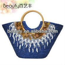 China round wooden handle women's fashion handbags