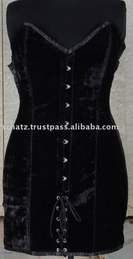 - Women_s_Black_Long_Corset_Dress