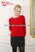 Ultima l-022-2 girocollo in lana e cotone mercerizzato blended maglia pullover maglione decorati con strass per la vendita