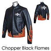 Chopper Flames Black Leather Biker Motorcycle Jacket