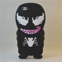new design cartoon black hero case spider 3d silicone case for iphone 5 Spiderman case