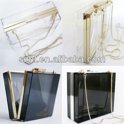 Transparent acrylic display light box clutch