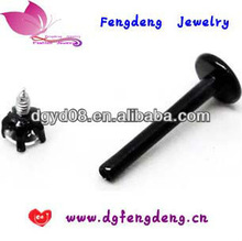 Fashion Stainless steel Labret ring Black Lip ring Piercing(WS4302)