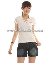 Young girl fashion brand name high quality V neck polo shirts slim fitting