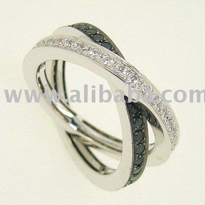 white and black diamond wedding rings