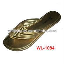 pvc multi- straps upper fashion golden sandals