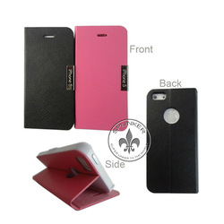 Business Style Lichi Skin Universal Size PU Leather Cell Phone Case For Iphone5 With PC Holder U6001-78