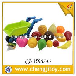 PE plastic toy 14pcs mini fruit toys plastic toy food with beach car