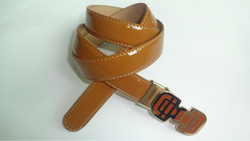 brown mirror split leather belt with china knot style lacquared buckle ,2013 new split leather belt