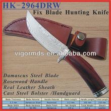 "(HK-2964DRW) 8.5"" Custom Handmade Fixed Blade Rosewood Handle Damascus Hunting Knife"