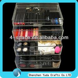 acrylic makeup organizer with drawers,plexiglass cosmetic display drawer wholesale