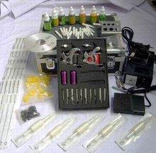 New Tattoo Kit 2 Machine Gun Power Supply Needle Ink + Case