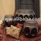 Tabla Drum Wood Round Coffee And End Table Set