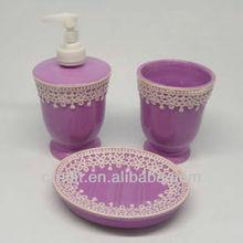 Latest lace design ceramic purple bathroom accessories set