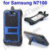 Mesh Pattern Folding Bracket 180 Degree Rotating Clip TPU Frame Hard Case for Samsung N7100 Galaxy Note 2