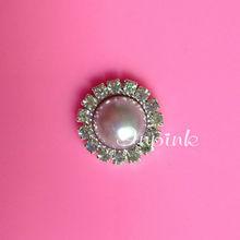 Wholesale 16mm round rhinestone lavender pearl button embellishment flatback(BTN-5033-5)