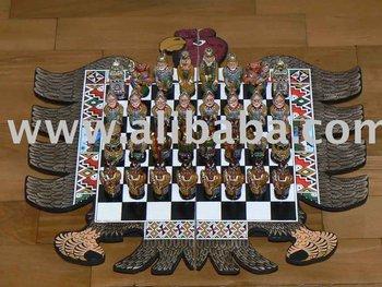 Chess Set Handmade Incas Vs. Spaniards Eagle Shape Board