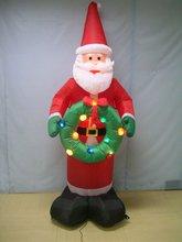 7 Feet Christmas Inflatable Santa Holding A Green Wreath With Decorative Mini Lights
