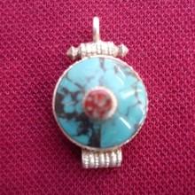 925 silver pendant- Silver Turquoise Coral Ghau Pendant Tibetan Nepal