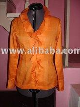 Orange linen blouse