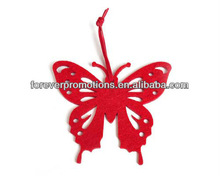 Woolen polyester felt Christmas tree hanger in shape of butterfly Forever felt Xmas tree hanger