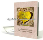 Autumn Themed Wedding invitation,Yellow heart shaped leaf card