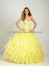 2014 New Arrival One Shoulder Lace Appliqued Bodice Yellow Pretty Quinceanera Dress Shops