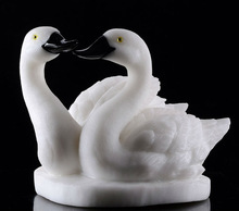 Whtie Stone carved dancing Swan Carving hot sale products