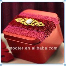 Fashion Design Red Square Jewel Tin Metal Box