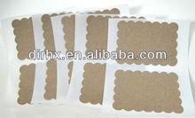 Blank Sticker Labels Kraft Scallop Rectangle