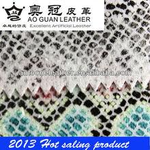 Soft snake skin pu shoes upper fabric T6163