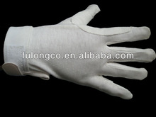 cotton uniform parade white gloves with 3 lines back snap enclosure dot palm