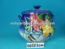 large ceramic restaurant serving soup pot with lid