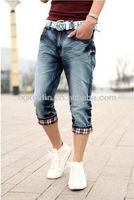 High Fashion Moustache Effect knee Length Dress Blue Jeans