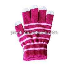 Zhejiang Custom Baby stripe five fingers touch screen gloves family sweat heart warm cotton gloves