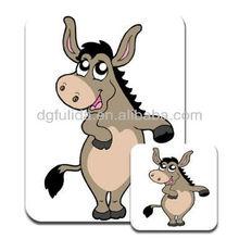 Cute Big Eyed Donkey Stainding on Two Legs Premium Mousematt