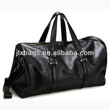 Deluxe Genuine Leather Travel Bag Black Duffel Bag